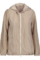 Brunello Cucinelli Metallic Trimmed Suede Hooded Jacket Mushroom