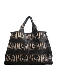 Sondra Roberts Zebra Patterned Leather Tote Black