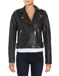 Andrew Marc New York Asymmetrical Zip Front Moto Jacket Black