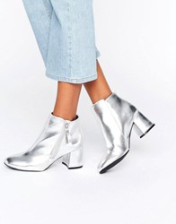 New Look Metallic Block Heeled Ankle Boots Silver