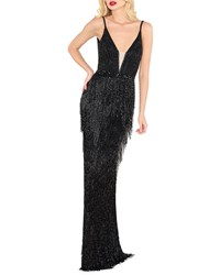 Mac Duggal Plunging Neck Beaded Fringed Gown Black