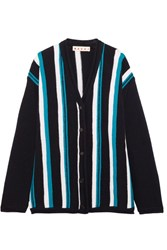 Marni Oversized Striped Wool Cardigan Blue