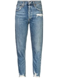 Agolde Distressed High Rise Jeans Blue