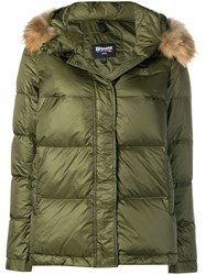 Blauer Fur Hood Trim Puffer Jacket Green