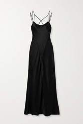 Kiki De Montparnasse Cage Open Back Silk Charmeuse Gown Black