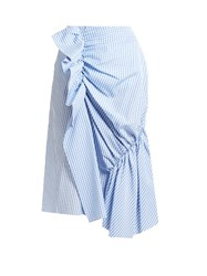 J.W.Anderson Gingham And Striped Cotton Poplin Skirt Blue White