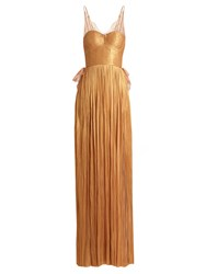 Maria Lucia Hohan Erica Pleated Silk Tulle Gown Gold