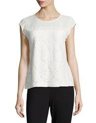 Karl Lagerfeld Cap Sleeve Lace Top Soft White