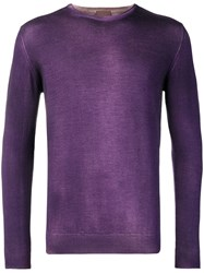 Altea Washed Effect Fitted Sweater Pink And Purple