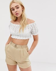 Pull And Bear Broderie Crop Top In White White