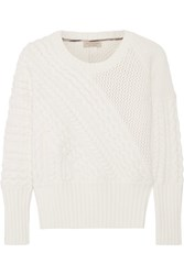 Burberry Cable Knit Wool And Cashmere Blend Sweater Cream