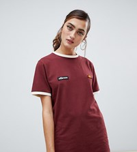 Ellesse Relaxed Ringer T Shirt With Chest Logo Red