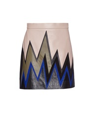 Emilio Pucci Ziz Zag Colour Block Leather Mini Skirt
