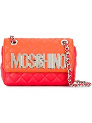 Moschino Quilted Logo Plaque Shoulder Bag Red