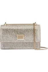 Jimmy Choo Leni Glittered Leather Shoulder Bag Silver