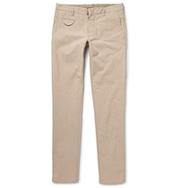 Incotex Slim Fit Striped Slubbed Cotton And Silk Blend Trousers Neutrals