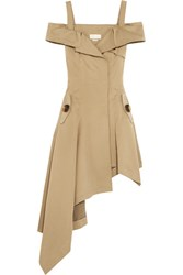 Monse Off The Shoulder Cotton Twill Dress Sand