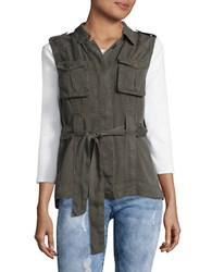 Design Lab Lord And Taylor Belted Utility Vest Sage