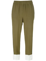 Twin Set Bicolour Cropped Trousers Green