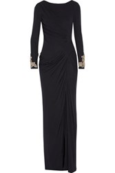 Badgley Mischka Draped Embellished Jersey Gown Midnight Blue