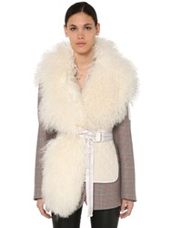 Off White Quilted Waistcoat W Shearling White