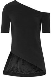 Rosetta Getty One Shoulder Stretch Cady Top Black