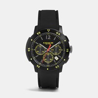 Coach Bleecker Sport Ionized Plating Chrono Rubber Strap Watch Black