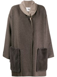 Manzoni 24 Cashmere Coat With Mink Pokets Neutrals