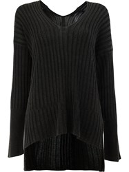 Ilaria Nistri High Low Hem Ribbed Knitted Top Black