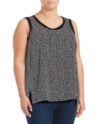 Jones New York Plus Printed Hi Lo Tank Top Black