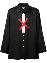 Yohji Yamamoto Cross Print Shirt Men Silk Cotton 2 Black