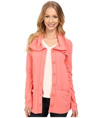 Mod O Doc Cotton Modal Spandex French Terry Button Up Jacket Cafe Coral Women's Coat Orange