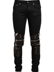 Saint Laurent Denim And Leather Biker Jeans Black