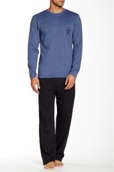Lucky Brand Crew Neck Tee And Thermal Pant Sleep Set Blue