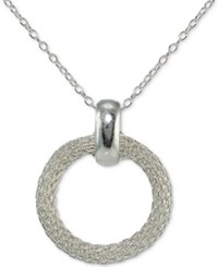 Giani Bernini Mesh Circle Pendant Necklace In Sterling Silver Created For Macy's