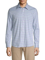 Hyden Yoo Striped Cotton Button Down Shirt Blue