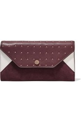 Maje Two Tone Paneled Suede And Studded Leather Wallet Merlot