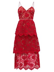 Self Portrait Tiered Floral Guipure Lace Dress Pink