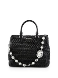 Miu Miu Swarovski Crystal Quilted Leather Tote Cammeo Black