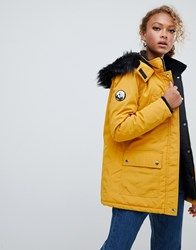 New Look Parka Coat In Mustard With Faux Fur Hood Yellow