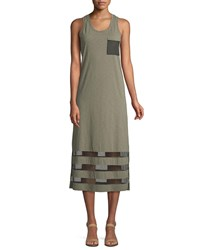 Lisa Todd Meshed Up Sleeveless Slub Tank Dress Green Tea