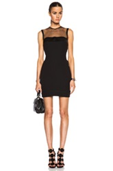 Victoria Beckham Sheer Yoke Fitted Dress In Black