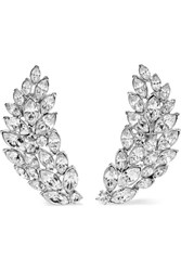 Kenneth Jay Lane Silver Tone Crystal Clip Earrings One Size Gbp