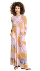 Raquel Allegra 3 4 Sleeve Drama Maxi Dress Solar Tie Dye