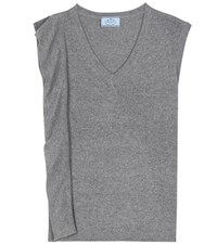 Prada Sleeveless Asymmetrical Wool And Cashmere Sweater Grey