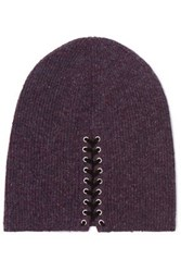 Autumn Cashmere Lace Up Ribbed Beanie Plum
