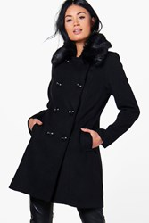 Boohoo Faux Fur Collar Double Breasted Coat Black