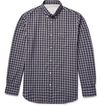 Officine Generale Button Down Collar Gingha Cotton Flannel Shirt Navy