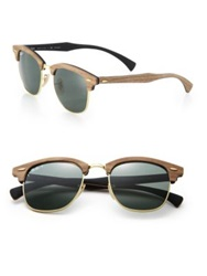 Ray Ban Wooden 51Mm Square Polarized Sunglasses Dark Brown
