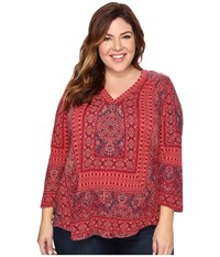 Lucky Brand Plus Size Border Print Top Bright Rose Multi Women's Clothing Pink